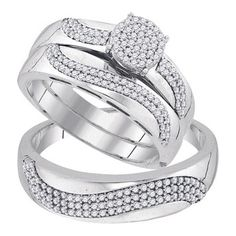 BrianG | Micro Pave Diamond Engagement Collection 10k White Gold 0.50 Cttw Diamond Miro-pave Wedding Band Engagement Ring Trio Set