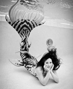 Black and white photograph - mermaid raven Merbella Studios inc silicone mermaid tail