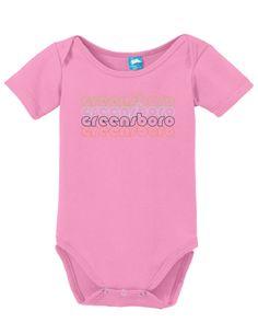 Greensboro North Carolina Retro Onesie Funny Bodysuit Baby Romper