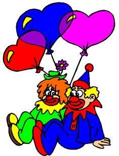 two clowns with balloons