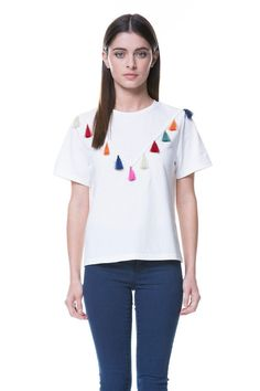 White Tshirt w/ Fringes by English Factory