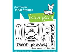 Treat yourself to this cute set of eight clear stamps. This set features a pint of ice cream, a spoon, and matching sentiments. This stamp set coordinates perfectly with Treat Yourself Lawn Cuts custo