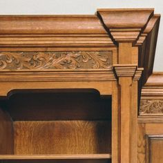 Stuart Interiors, acanthus carved detail in library bookcase