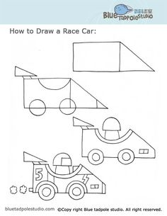 How To Draw A RaceCar. Simple! Great For Grade Two, For A Unit On Transportation!
