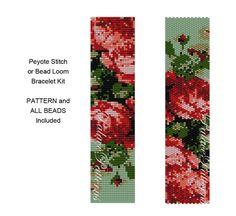Bracelet Kit Roses are Coral - Peyote Stitch Bracelet KIT P32 - Roses are Coral Bead Loom Bracelet KIT