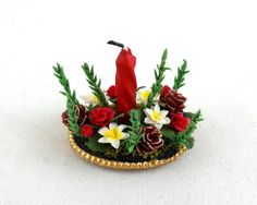 Dolls House Miniature Christmas Table Centrepiece with Candle and Floral Display | Melody Jane Dolls Houses