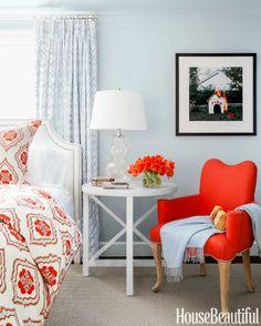 Orange and Black Rooms - Orange and Black Decorating Ideas - House Beautiful Neutral Bedrooms, Coastal Bedrooms, Bedroom Colors, Bedroom Decor, Bedroom Seating, Blue Bedrooms, Bedroom Orange, Bedroom Chair, Design Bedroom