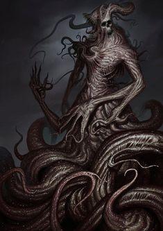 Monster Concept Art, Fantasy Monster, Monster Art, Necronomicon Lovecraft, Lovecraft Cthulhu, Dark Creatures, Fantasy Creatures, Dark Fantasy Art, Lovecraftian Horror