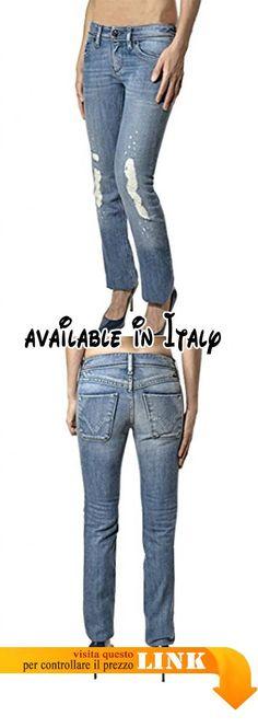 B076JG9NM7 : DIESEL jeans donna - effetto vintage - made in ITALY (26). DIESEL jeans donna - effetto vintage - made in ITALY. Tinta unita - effetto vintage - cinque tasche. Chiusura con cerniera e bottone - Logo. Made in Italy - Cotone 100%. Larghezza fondo gamba 18 cm