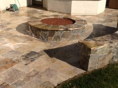Natural Stone Travertine; Fire Pit; Bench Seating