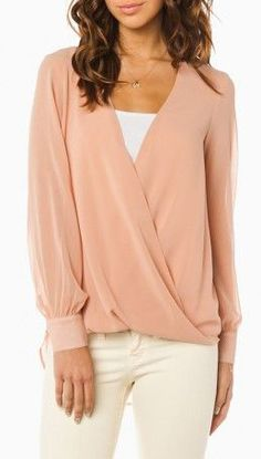 Collins Draped Blouse in Blush