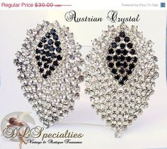 ON SALE Vintage Austrian Crystal Sapphire Crystal by DLSpecialties, $24.00