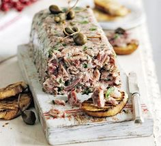 Cured slow-cooked pork is a great foundation for a coarse pâté style starter and can be made in advance & this ham hock & mustard terrine is a delicious example. Mousse, Ham Hock Terrine, Pork Recipes, Cooking Recipes, Ham Hock Recipes, Chicken Recipes, Slow Cooked Pork, My Burger, Christmas Ham