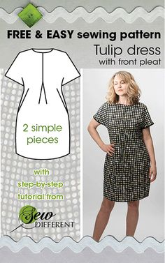 Tulip dress - FREE sewing pattern and tutorial from www.sewdifferent.... So easy and quick to make. Only 2 simple pieces and no zips. Happy sewing!