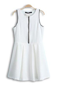 Cute White Skater Dress with Zipper