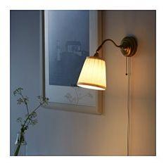 IKEA - ÅRSTID, Wandlamp, , De lampenkap van textiel geeft een zacht en decoratief licht.Door de verstelbare kop is het licht gemakkelijk te richten, bijvoorbeeld op je boek als je leest, op het plafond voor algemene verlichting of op een bepaald gebied in de kamer.