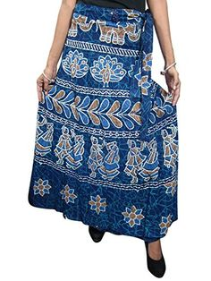 Mogulinterior Long Wrap Around Skirt Cotton Desinger Blue Sarong Hippy India Clothing Beach Wrap Skirt, Wrap Around Skirt, Skirt Fashion, Boho Fashion, Womens Fashion, Sarong Skirt, Indian Skirt, Boho Skirts, Summer Skirts