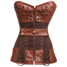 CD-234- Striped Steampunk Corset with Waist Belt and Chain and Ring Detailing