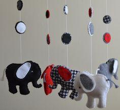 Nursery Musical Felt Elephant Mobile. $125.00, via Etsy.
