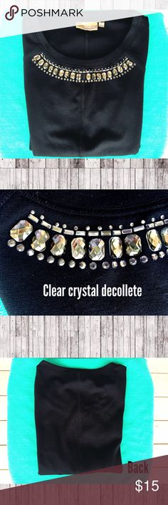 """Vera Wang Crystal Décolleté Top Beautiful black shirt sleeves top with clear crystal décolleté.  Structured top that falls at my waist (for reference I am 5'6""""). Made of 74% polyester 23% rayon and 3% spandex.  Hand wash cold inside out and lay flat to dry.  EUC Vera Wang Princess Tops Tees - Short Sleeve"""