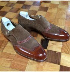 b63c91eb0c83 Handmade Men 2 Tone Brown Wingtip Shoe