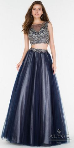 With a stunning A-line tulle skirt, and a fully embellished bodice, the Two Piece Embellished Tulle A-line Prom Dress by Alyce Paris will have you looking like a true prom princess. #edressme