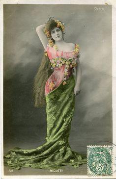 Original French vintage hand tinted real photo postcard - Actress miss Ricotti in beautiful dress - Victorian Paper Ephemera