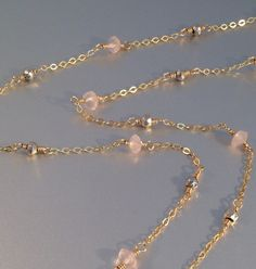 Rose quartz and pyrite necklace gold by DelicateFilaments on Etsy