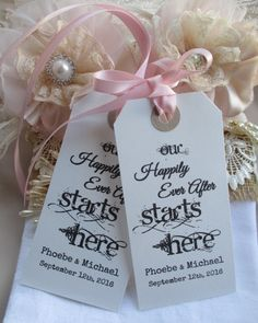 Our Happlily Ever After Starts Here-Wedding Rehearsal Dinner Hang Tags - Party Favor Cards- Hen Party-Bachelorette Party Wedding Favors by TheIvoryBow on Etsy