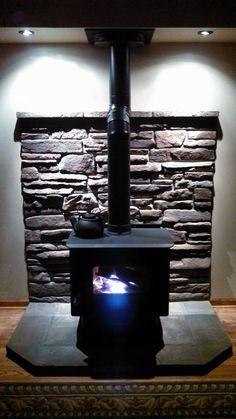 Woodburning stove, love the slate and hardwood