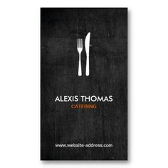 Fork and Knife Logo for Catering, Chef, Restaurant Business Card Template