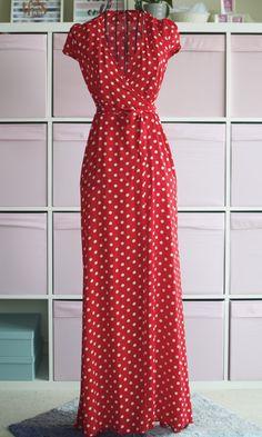 Eos maxi wrap dress in polka dot first date outfits, night outfits, classy outfits Classy Dress, Classy Outfits, Night Outfits, Fashion Outfits, Red Polka Dot Dress, Beautiful Maxi Dresses, Casual Dresses, Summer Dresses, Estilo Fashion
