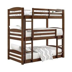 The solid wood construction of the Maverick Wooden Triple Bunk Bed from Dorel Living can withstand the excitement and energy of 3 children. This twin over twin over twin bunk bed holds 3 twin mattresses and offers guardrails and integrated ladders. Wood Bunk Beds, Bunk Beds With Stairs, Twin Bunk Beds, Kids Bunk Beds, Triple Bed, Triple Bunk Beds, Bunk Bed Plans, Bunk Bed Designs, Bed Slats