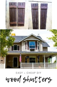 Making wood shutters is so easy and way more cost-effective than buying them or vinyl shutters! Follow this easy tutorial for step-by-step instructions. Decorating Your Home, Diy Home Decor, Vinyl Shutters, Lawn Chairs, Wood Screws, Curb Appeal, Natural Wood, House Plans, Diy Projects