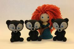 PATTERN Merida AND Triplet Bears Brave Disney Crochet Doll Amigurumi. $9.00, via Etsy. by Sahrit