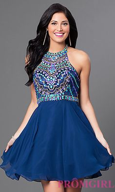 High-Neck Racerback Beaded-Bodice Homecoming Dress at PromGirl.com