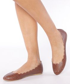 Look what I found on #zulily! Tan Scalloped Kavi Flat #zulilyfinds