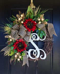 Door Wreaths Fall Wreath for Door Sunflower by FleursDeLaVie
