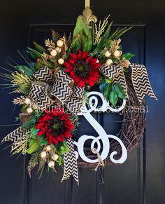 NEW! Door Wreaths, Fall Wreath for Door, Monogram Wreaths, Hydrangea Wreath, Grapevine Wreath, House Warming Gift, Burlap Wreaths, Burlap