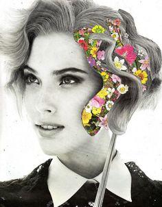 Ben Giles #collage #flowers #papercollage #graphicdesign #art #femailportrait #portrait