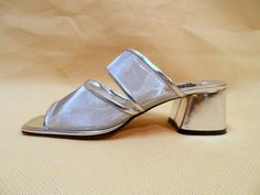 90s Chunky Mesh Sandals PRIMA Size 8 Silver by MirrorballBoutique