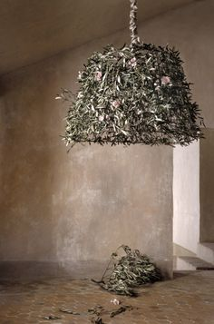 great lighting. wire basket with dried flowers!