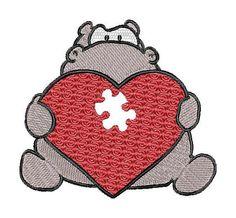Heart, love, Valentine,  hippo, machine embroidery design