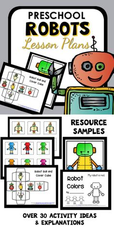 """This week long preschool robot theme is all about learning inspired by robots. Create robots, use robot """"parts"""" for play, and engage in hands-on activities with a robot twist. Preschool Weekly Themes, Preschool Lesson Plans, Preschool At Home, Preschool Activities, Robot Classroom, Preschool Classroom, Classroom Resources, Kindergarten, Robot Theme"""