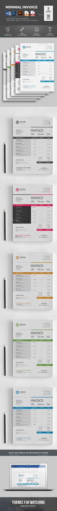#Invoice - #Proposals & Invoices #Stationery Download here: https://graphicriver.net/item/invoice/19530976?ref=alena994