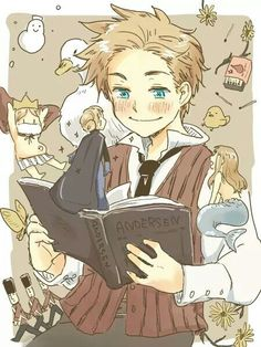 Hetalia (ヘタリア) - Denmark (デンマーク) reading Hans Christian Anderson books (sry if I got the name wrong)