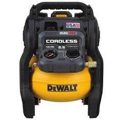 The DEWALT max* gallon cordless air compressor kit compressor features an efficient Brushless motor paired with a heavy-duty, oil-free pump th Cordless Air Compressor, Air Compressor Oil, Electric Air Compressor, Portable Air Compressor, Best Small Air Compressor, Metal Shears, Exercise Bike Reviews, Dewalt Tools