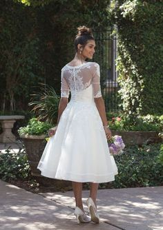 Sincerity Bridal - Style Dress with lace finish on length, jacket with . Sincerity Bridal - Style Dress with lace finish on length, jacket with half long sleeves Source by rglabrenner Tea Wedding Dresses, Wedding Dress Tea Length, Sincerity Bridal Wedding Dresses, Tea Length Dresses, Wedding Dress Styles, Bridal Dresses, Gown Wedding, Short Lace Wedding Dress, Reception Dresses