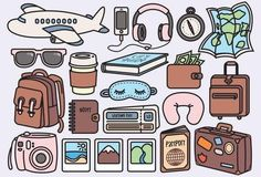 Premium Vector Clipart Kawaii Travel by doodle Journal Stickers, Scrapbook Stickers, Planner Stickers, Travel Clipart, Art Mignon, Travel Icon, Passport Travel, Travel Set, Tumblr Stickers