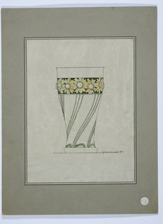 Gustav Gaudernack. Design for silver cup with enamel flower decoration. Pen and watercolor. Signed 1902